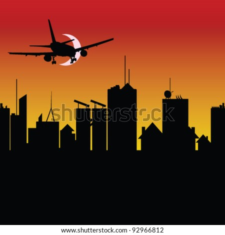 city silhouette with airplane vector illustration on sunset