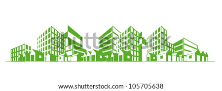 City silhouette with different types of buildings green over white background