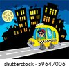 City silhouette with taxi driver - vector illustration. - stock photo
