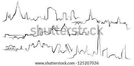 City silhouettes. Bangkok, Florence, Madrid, Amsterdam, Dubai - stock vector