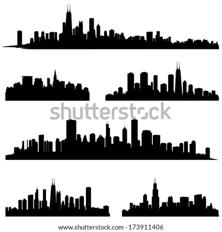 City silhouettes. Chicago Illinois various skyline silhouette set. Panorama city background. Urban skyline border collection.  - stock vector