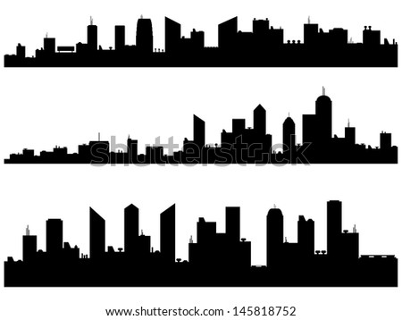 City Silhouettes illustrated on white - stock vector