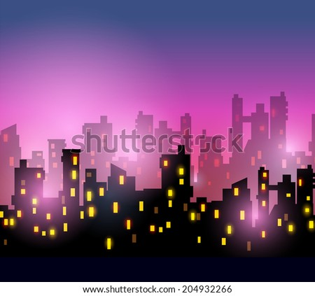 City silhouettes of different colors on red - stock vector