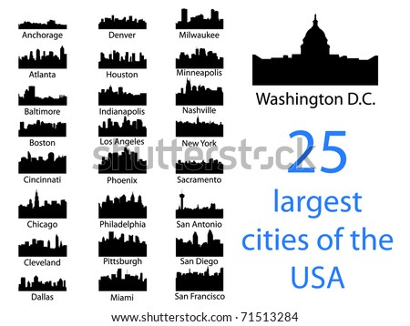 City silhouettes of the most popular cities of the USA - Vector - stock vector