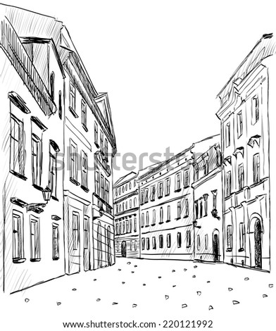 City sketch - stock vector