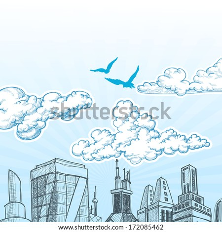 City sky vector - stock vector