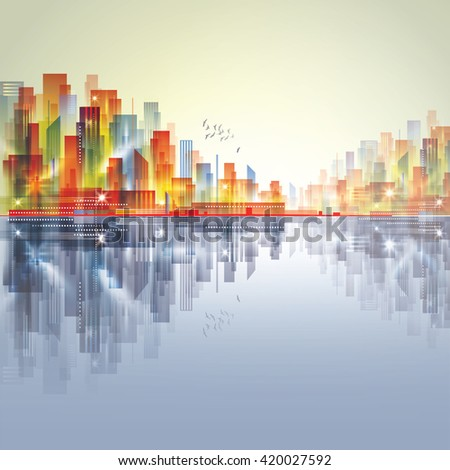 City skyline at harbor - stock vector