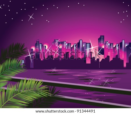 City skyline at night - stock vector