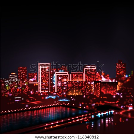 City skyline at Night Lights - stock vector
