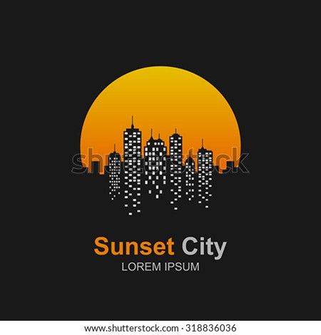 City skyline at sunset icon. - stock vector
