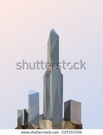 City Skyline Background. Abstract cityscape made with triangles. Vector illustration. - stock vector