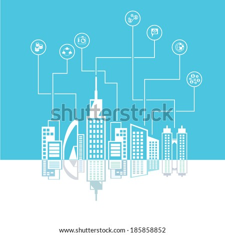 city skyline background, social media network concept, blue background - stock vector