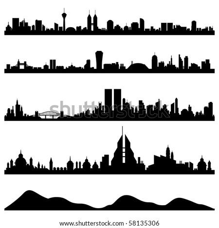 City Skyline Cityscape Vector - stock vector
