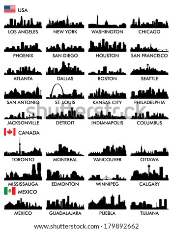 City skyline North America - stock vector