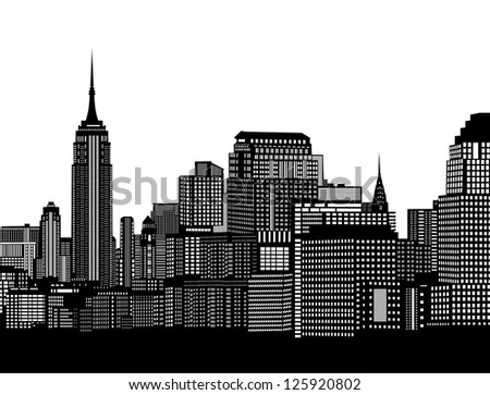 City skyline on white background, vector illustration