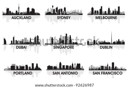 City skyline set - stock vector