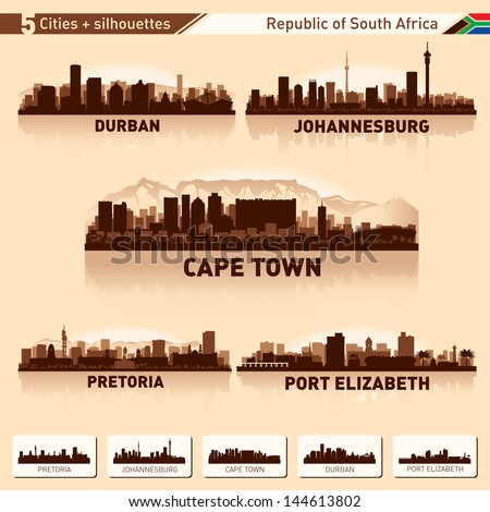 City skyline set South Africa Vector silhouette illustration. - stock vector