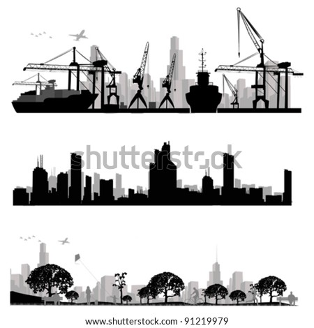 City skyline shiluettes.Vector illustration - stock vector