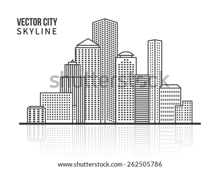 City skyline silhouette in line style. Modern architecture and structure. Vector illustration
