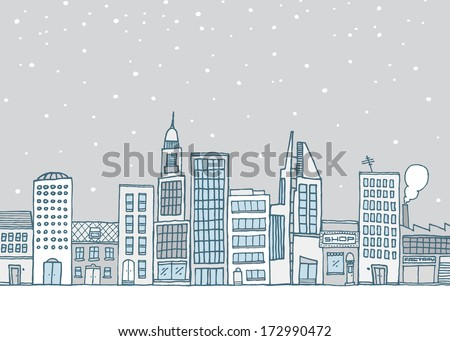 City skyline with many white buildings under snow - stock vector