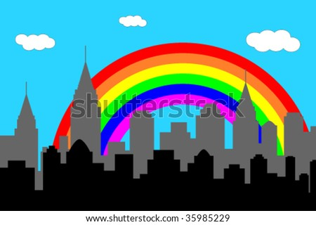 city skyline with rainbow - stock vector