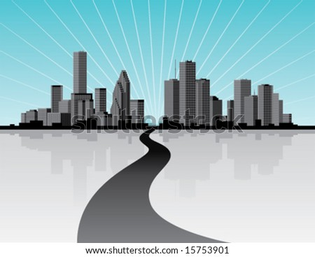 City skyline with reflection.  Vector illustration