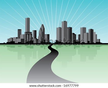 City skyline with reflection.  Vector illustration. - stock vector