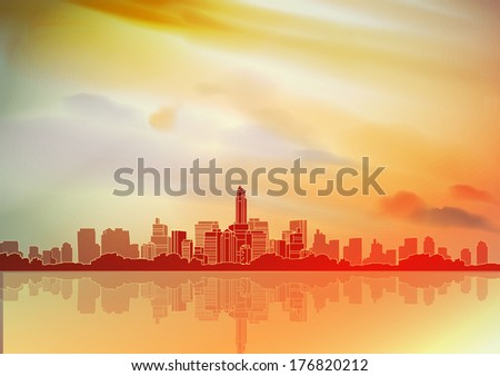 City Skyline with Reflections Background - Vector Illustration - stock vector