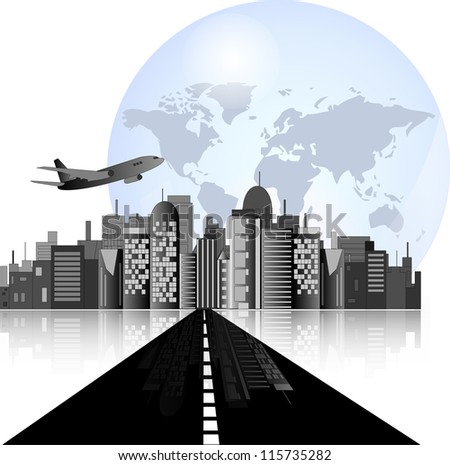 City skyline with road, airplane and earth background for international business - stock vector