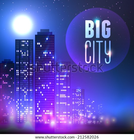 City skyline with skyscraper buildings at full moon night on purple background vector illustration. - stock vector