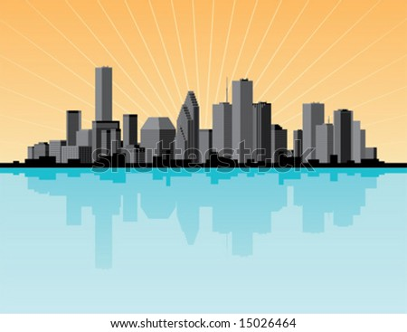 City skyline with star burst and reflection - stock vector