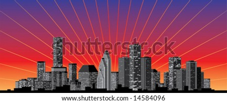 City skyline with sunrise or sunset background.  Vector Illustration.