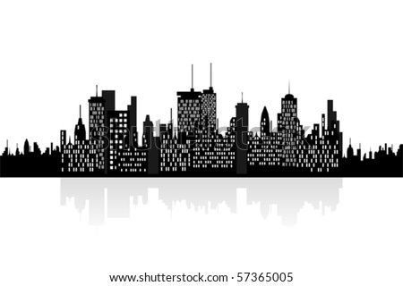 City skyline with urban buildings
