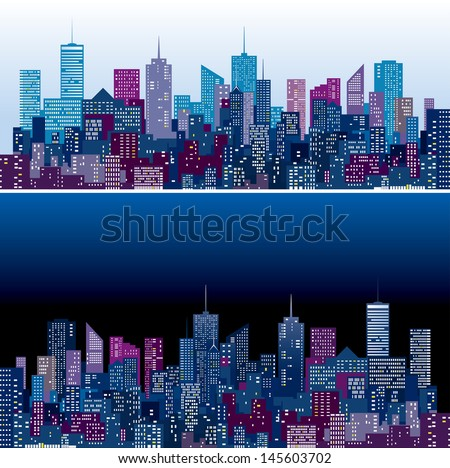 city skylines in two purple and blue color versions  - stock vector