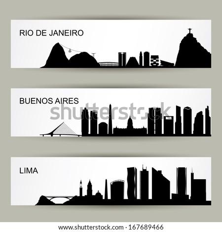 City skylines of Latin America - vector illustration - stock vector