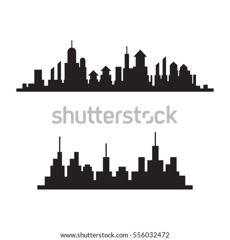 City skylines silhouette, cityscape set, black isolated on white background, vector illustration.