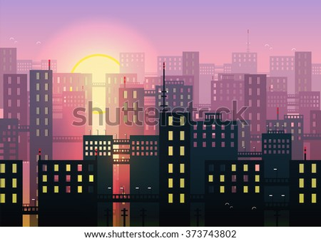 City Skylines - Vector Illustration - stock vector