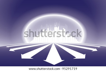 City skyscraper silhouette illustration with a halo glow around the city and emerging arrows from it. AI EPS version 10. - stock vector