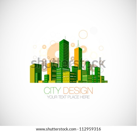 City skyscraper view background with color flying circles. Vector illustration - stock vector
