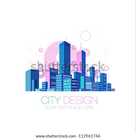 City skyscraper view background with color flying circles. Vector illustration