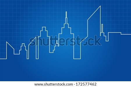 City Skyscrapers Skyline Architectural Blueprint Vector - stock vector