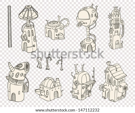 City steampunk 2013 set3 - stock vector