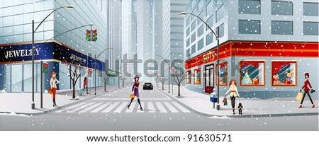 city street - stock vector