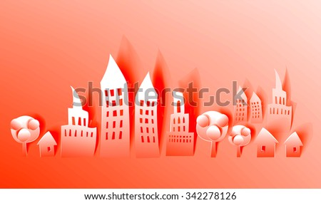 City street, abstract background with modern buildings made of paper - stock vector