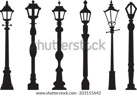 City street lantern set - stock vector
