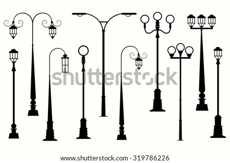 City street lanterns silhouette vector.