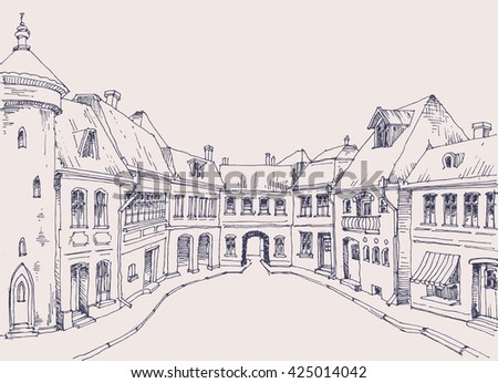 City street, retro style buildings sketch, urban background - stock vector