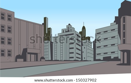 City Street Scene Background for Superhero Comics or Animation - stock vector
