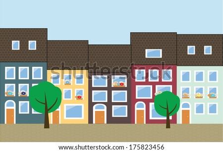 City Street Scene with colorful houses - stock vector