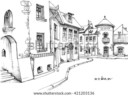 City street sketch - stock vector